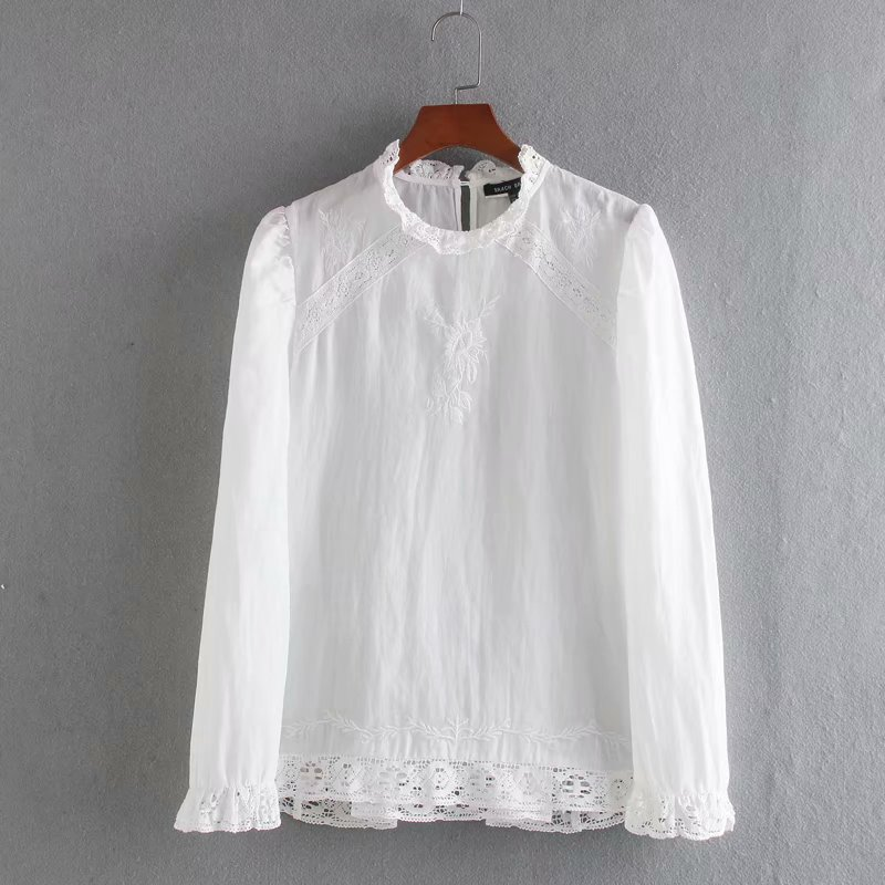 New Women Lace Stitching Embroidery Casual White Blouses Shirts Women Office Puff Sleeve Business Pullover Blusas Tops LS6394