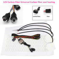 12V Universal 6 Level Carbon Fiber Car Heated heating Heater Seat Pads Winter Warmer Seat Covers Kit