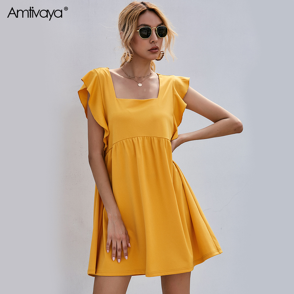 Amtivaya Yellow Square Collar Wood Ear Edge Chiffon Dress Girl Sweet Summer Holiday Seaside Style Casual Fashion Ins Clothing