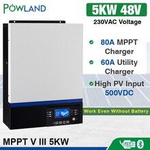 อินเวอร์เตอร์พลังงานแสงอาทิตย์500Vdc 5000W 80A MPPT 48V 220V Off Grid Inverter 5Kva Pure Sine Waveอินเวอร์เตอร์60Aแบตเตอรี่Charger