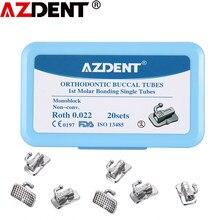 AZDENT – Tubes buccaux orthodontiques, 20 ensembles = 80 pièces, 1ère molaire collable, monoblocage Non Convertible, simple Roth/MBT 0.022