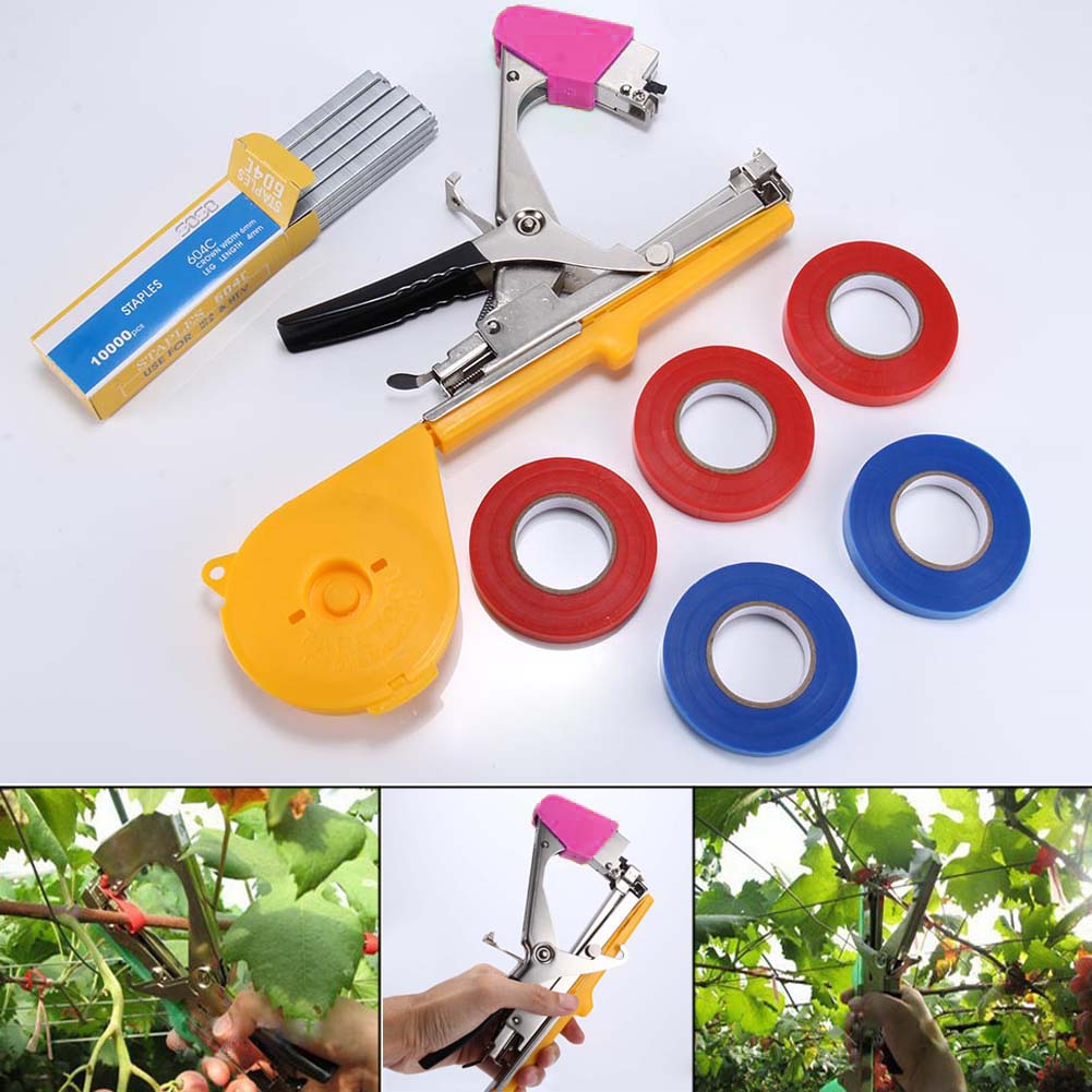 Machine Flower 1 Set Plant Branch Hand Tying Staples +Tapener +TapesBinding Vegetable Garden Tools DC156
