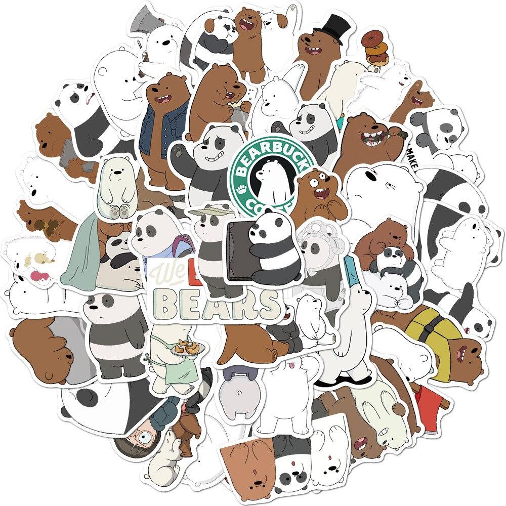 Cute cartoon panda polar bear unicorn sticker school student diary hand ledger stationery mobile phone guitar decoration kawaii