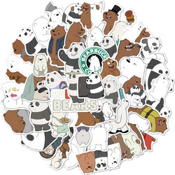Cute cartoon panda polar bear unicorn sticker school student diary hand ledger stationery mobile phone guitar decoration kawaii