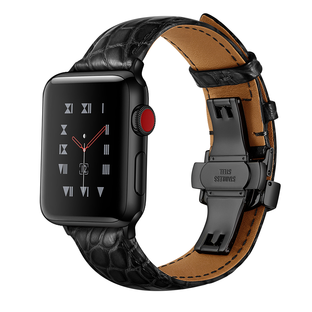 OTMENG Genuine Crocodile Leather Watchband For IWatch Apple Watch 38mm 40mm 42mm 44mm Series 5 4 3 2 Band Butterfly Clasp Strap