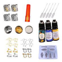 Handmade Ear Earrings Jewelry Molds Hook Clip Epoxy Material Package DIY Crystal Epoxy Earrings Making Tools