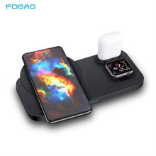 3 in 1 Qi Wireless Charger Stand For Airpods Pro Apple iWatch 10W Fast Charging Station for iPhone 11 Pro XS XR X 8 Watch 5 4 3(China)