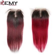 4*4 תחרה סגירת KEMY שיער 100% ברזילאי ישר שיער טבעי משלוח/אמצע/שלוש חלק סגירת תחרה שוויצרית ללא רמי שיער