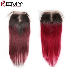 Image 1 - 4*4 レース閉鎖 kemy 毛 100% ブラジルストレート人毛フリー/中央/スリーパートスイスレース閉鎖非レミーの髪