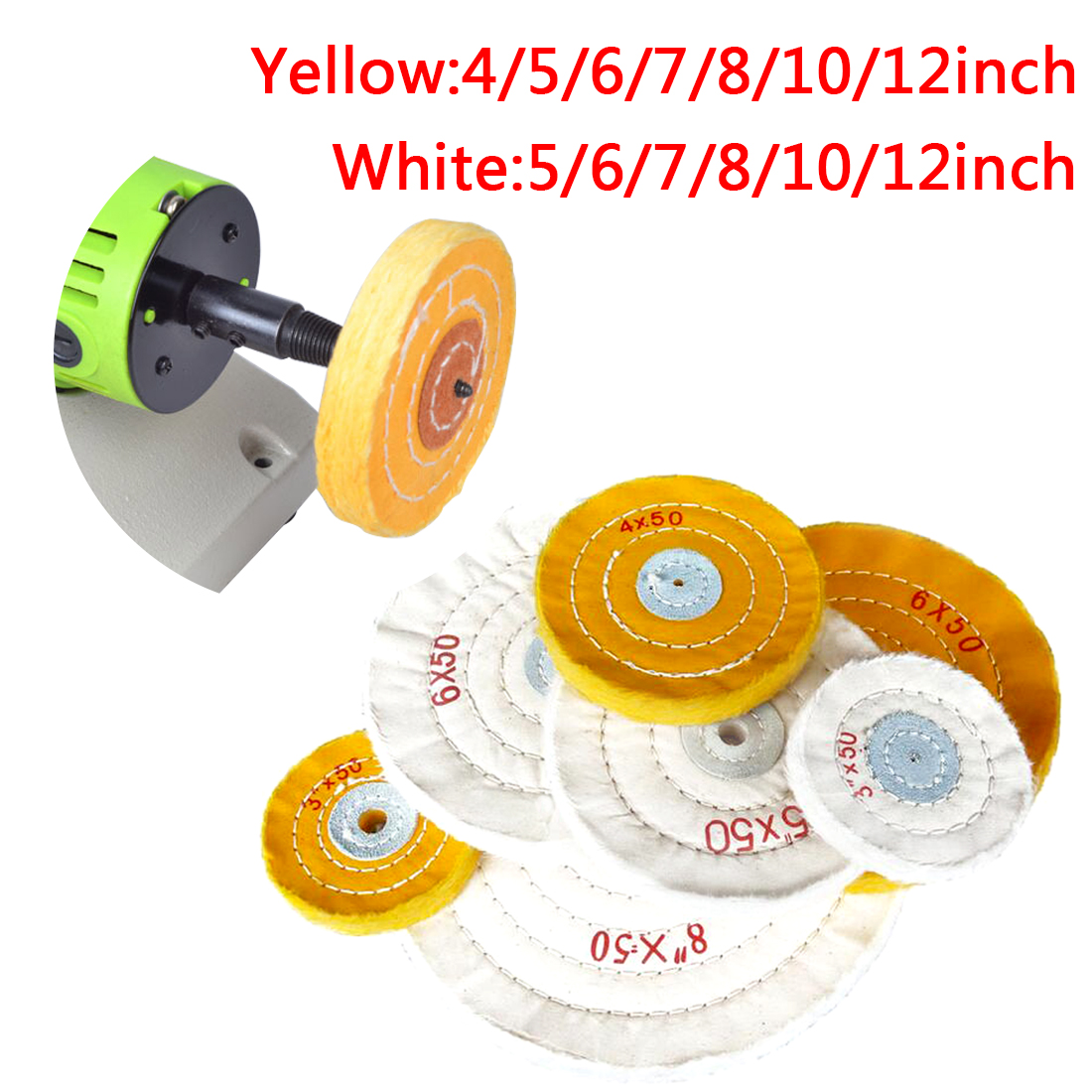 1pcs 4-12 Inch Cotton Lint Cloth Buffing Wheel Gold Silver Jewelry Mirror Polishing Wheel 12mm Inner Hole 50 Layers