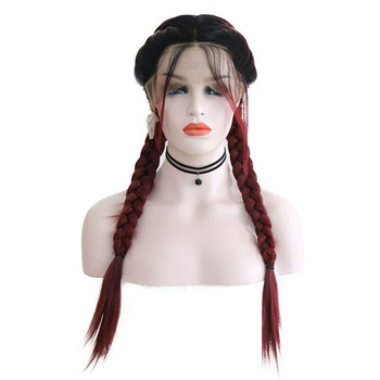 RONGDUOYI Braided Long Wig with Baby Hair Ombre Burgundy Lace Front Synthetic Wigs for Women 2 Braids Heat Fiber Middle Part Wig
