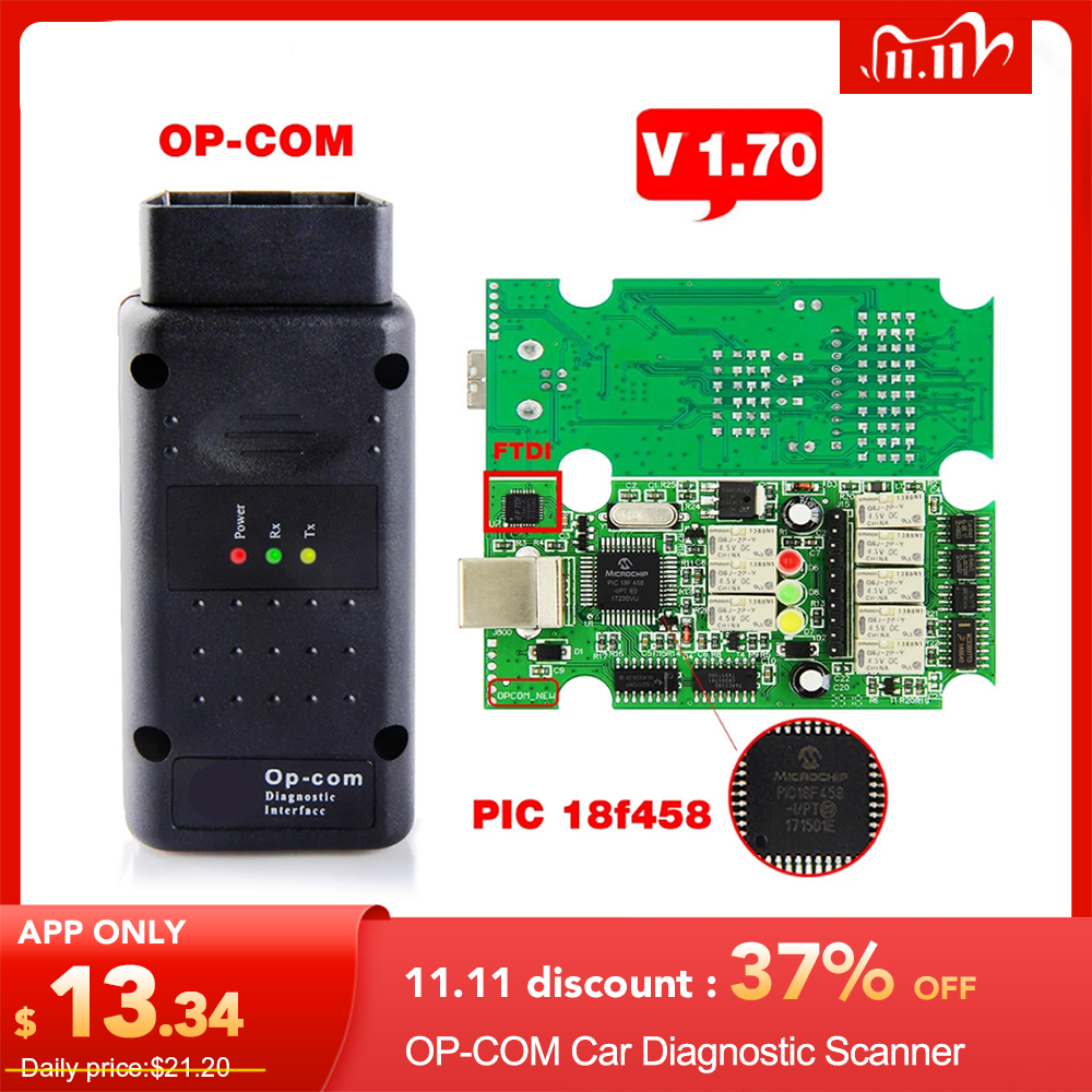 Best OP COM ODB 2 V1 70 OP COM V5 Autoscanner OPCOM for OPEL Firmware V 1 70 With PIC18F458 OP-COM for Opel OP COM OBD2 Scanner