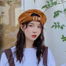 Harajuku Corduroy Beret Hats Women Girls Vintage Artist Painter Hat Winter Autumn Embroidery K Wool Octagonal cap adjust
