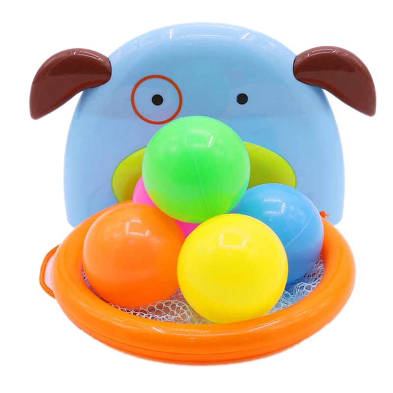 Children Bath Dabbling Toy Basketball Hoop Stand Sports Basketball For Baby Showering - A Ocean Ball
