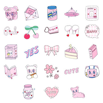 46pcs Pink Cute League DIY Diary Stickers Paper Labels Gifts Packaging Decor image
