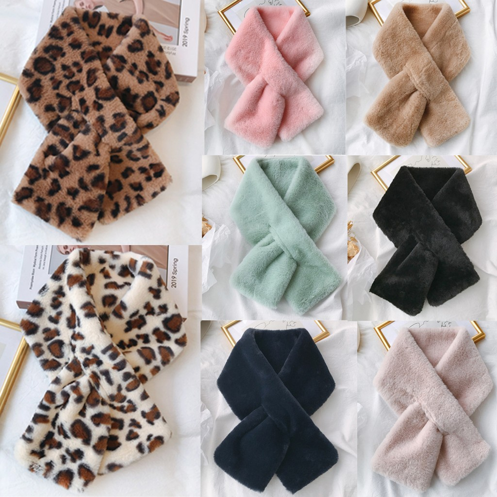 Are You Sure Not To Click In And See? Women Fashion Winter Faux Fur Villus Scarf Outerwear Leopard Print Scarf Warm Purchasing