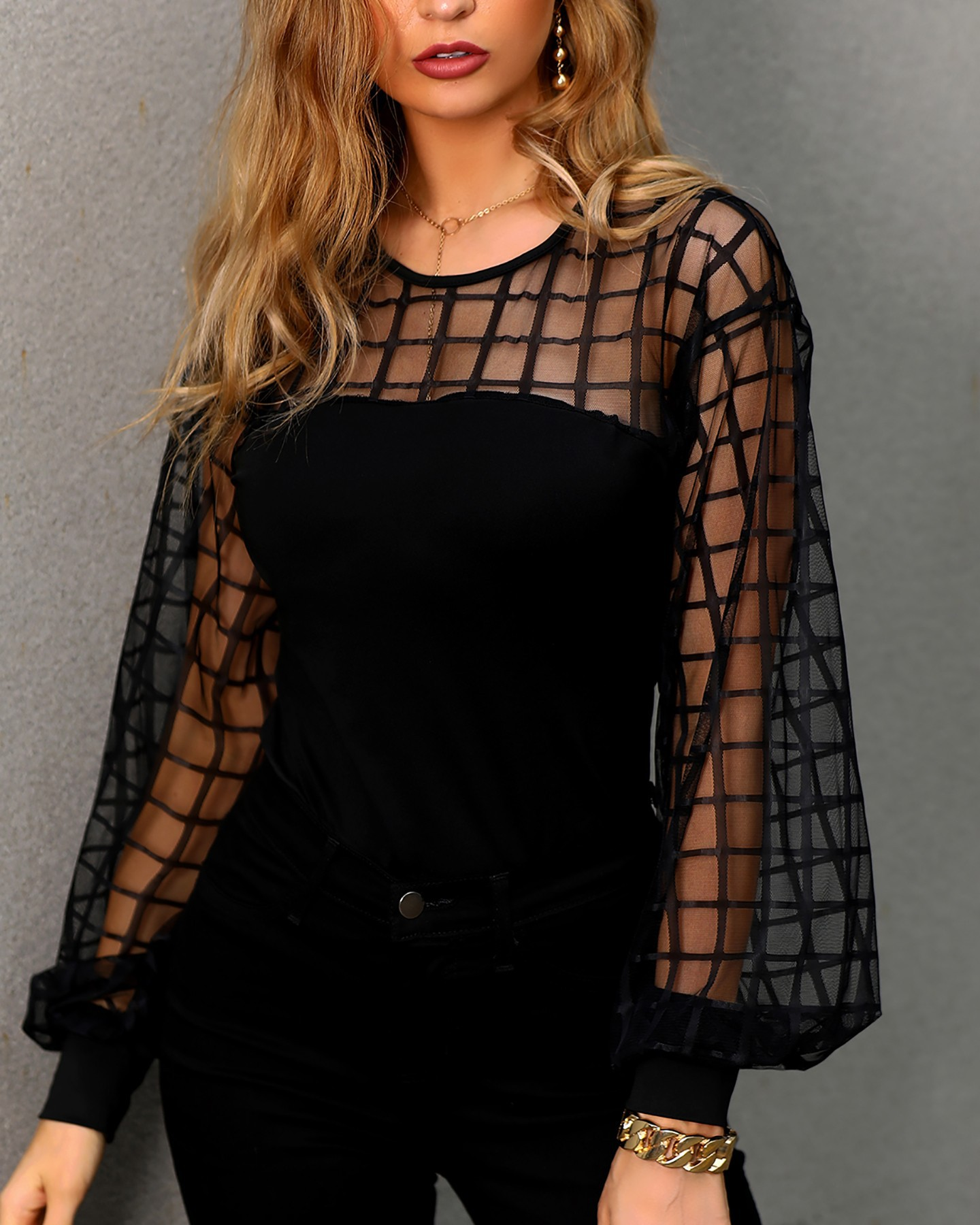 Long Lantern Sleeve Blouse Female 2019 New Tight-fitting Shirt Sexy Plaid Perspective Mesh Shirt Sexy Female Summer Black