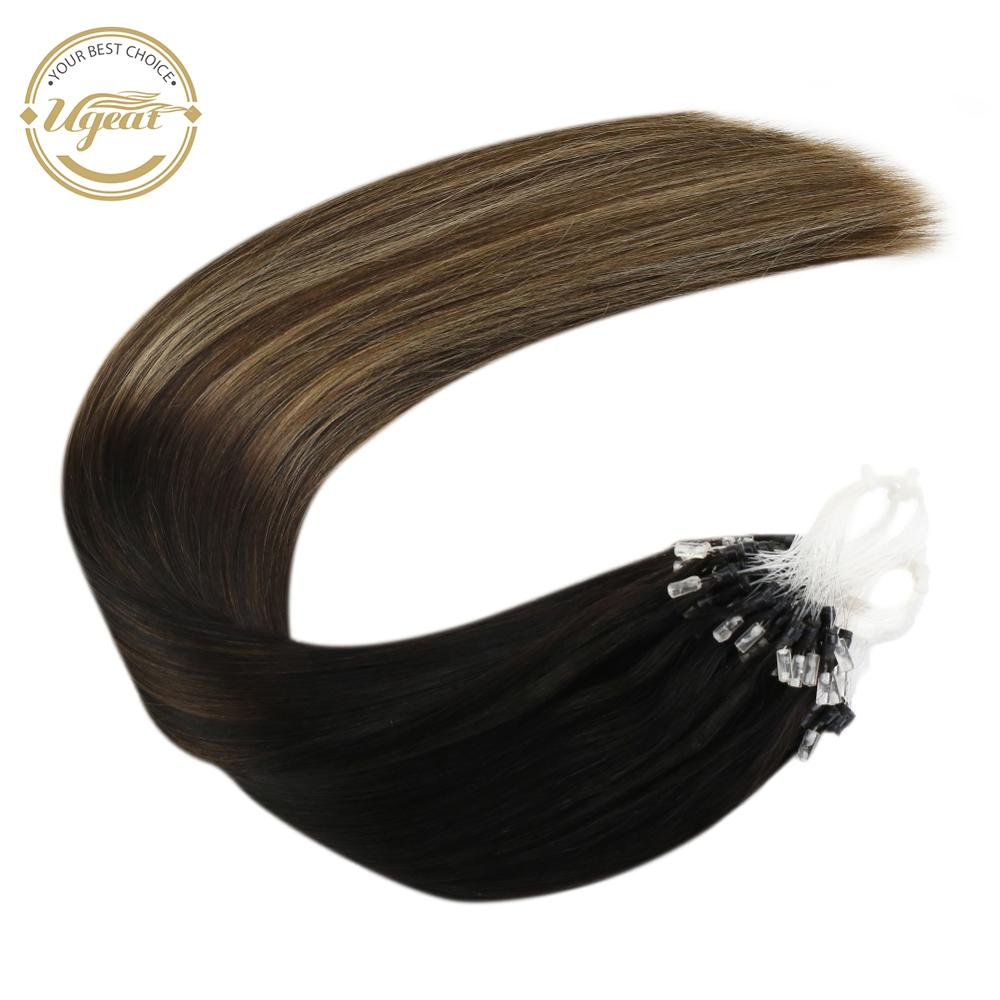 Ugeat Micro Ring 1B/4/27 Human Straight Hair Extensions Balayage Machine Remy Hair 14-24inch 50g/100g Micro Ring Hair Extensions