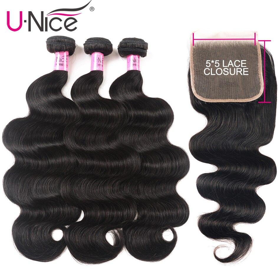 UNICE Hair Body Wave Bundles With 5X5 Closure Brazilian Hair Weave 3 Bundles With Closure 100% Human Hair Bundles 4PCS