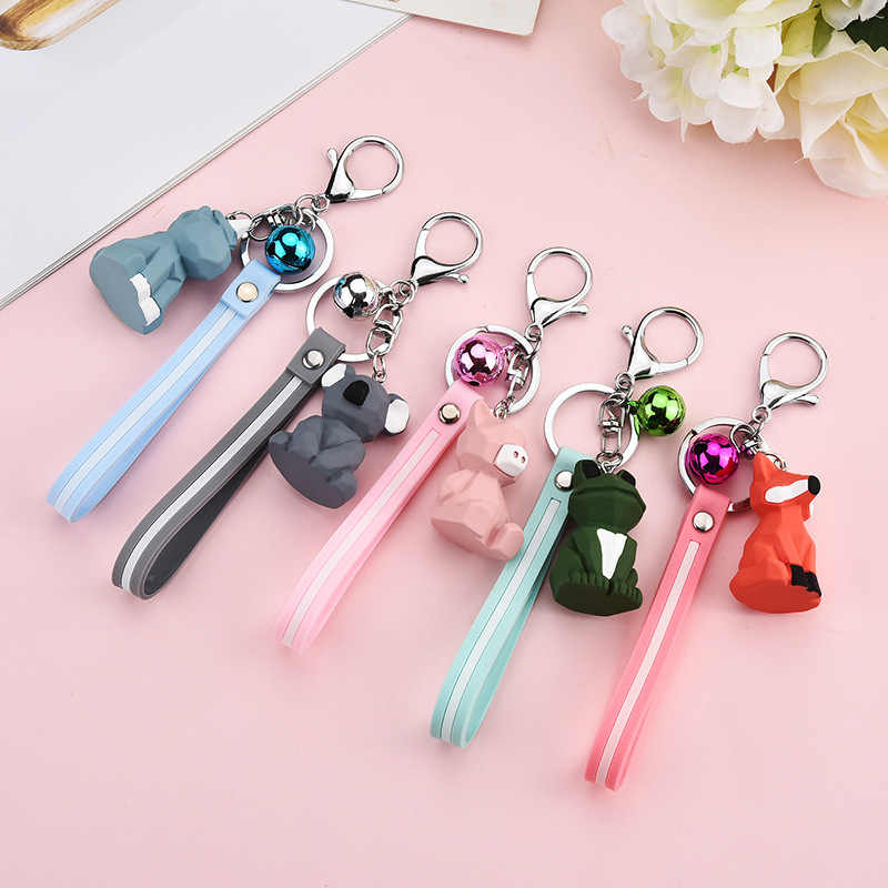 New Fashion cute dinosaur Key Chain fashion cotton Keychain stuffed cartoon PU creative car bag phone men and women key ring