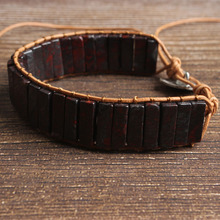 LanLi natural Jewelry cylinder red stone knit  bracelet men and women Giving presents self use