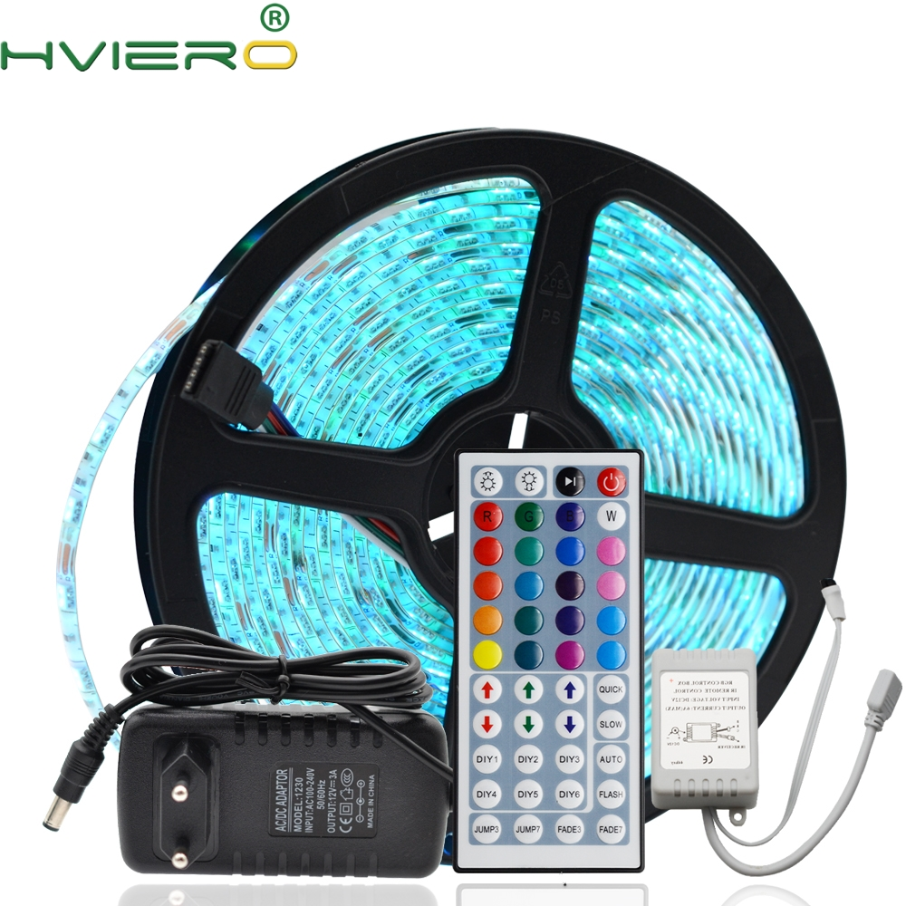 5 m 300 leds rgb led strip 5050 flexível à prova dwaterproof água led noite luz do feriado lâmpada de mesa dc 12 v 44key ir controle remoto receptor