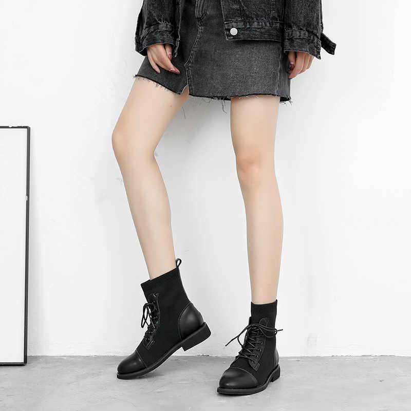 2019 Nieuwe Enkellaars Vrouwen Mode Lace up Lage Hak Platform Vrouw Naaien Winter Laarzen Comfortabele Stijl Schoenen