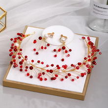 Earrings Jewelry-Accessories Bride Pearls Headbands Crystal Handmade Wedding 1set FORSEVEN