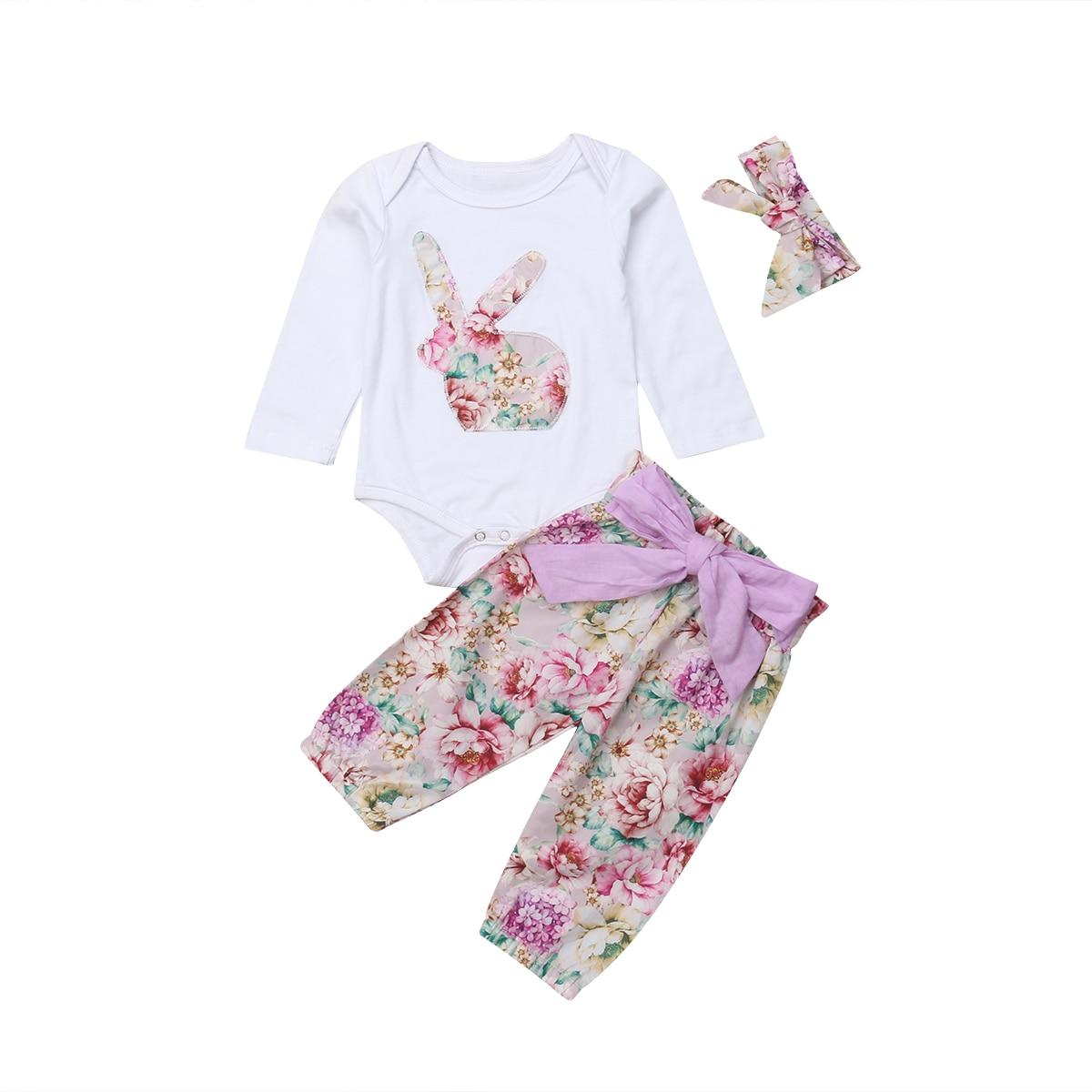 Newborn Infant Baby Girl Clothes Jumpsuit Romper Bodysuit Headband Outfits Set