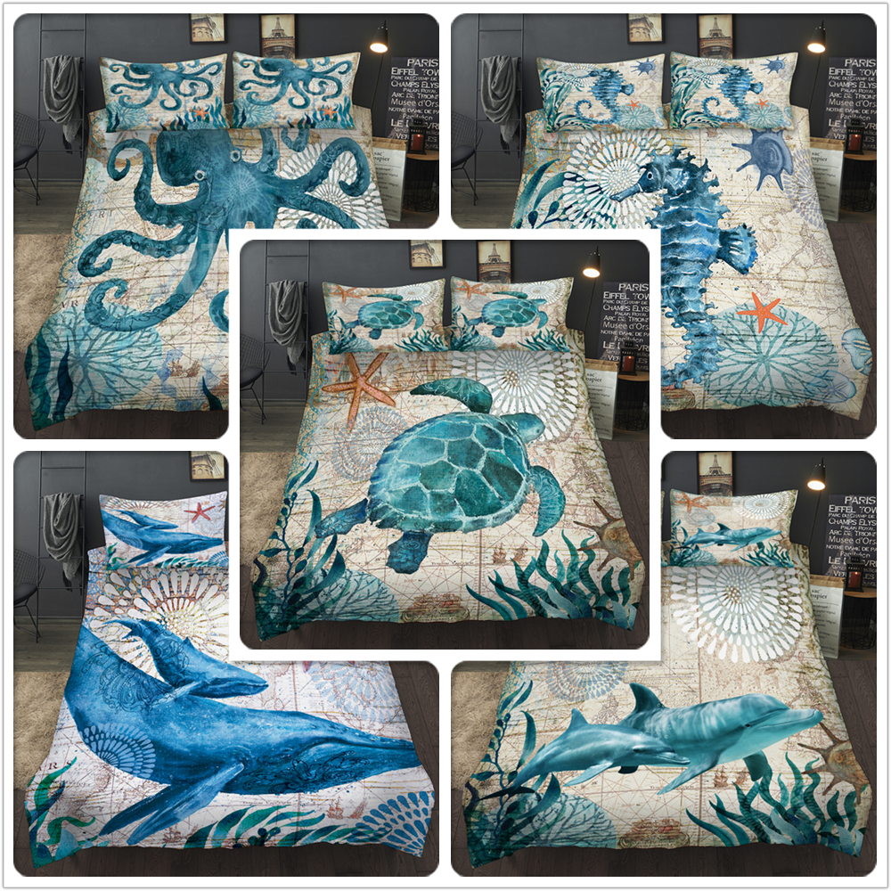 3D Home Textile Sea Horse Dolphin Bedding Sets King Queen Whale Turtle Duvet Cover Quilt Cover Pillowcase