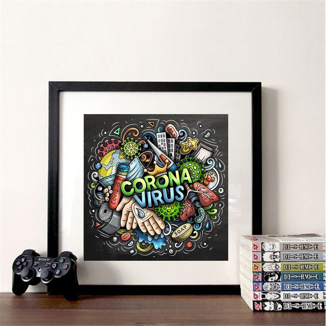 Huacan Diamond Painting 5D DIY Cartoon Full Square Round Diamonds Embroidery Text Kits Decorations Home
