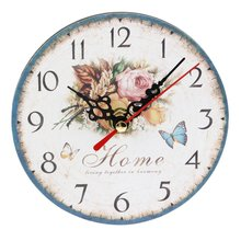 Practical Artistic Creative European Style Round Colorful Rustic Decorative Antique Wooden Home Wall Clock creative gear wooden wall clock vintage industrial style clock wooden electronic home decorative wall clock