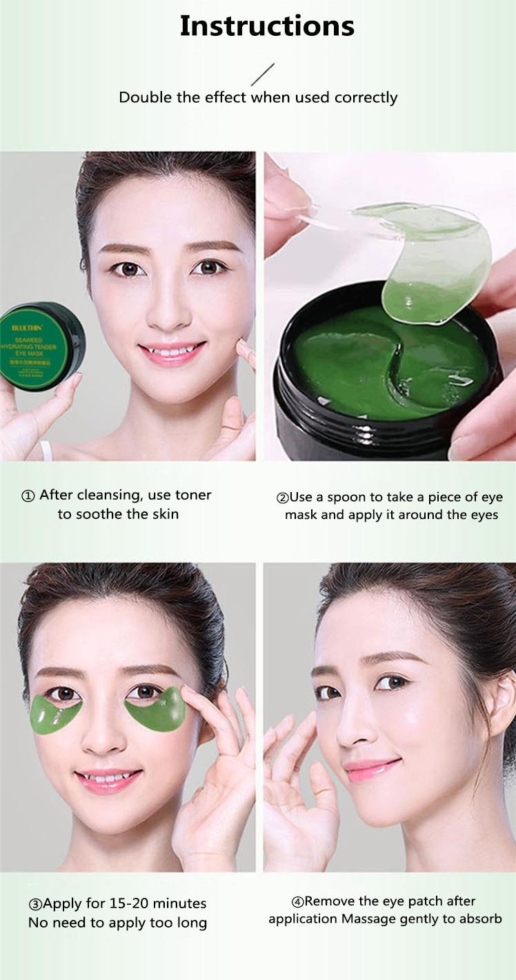 60pcs/box Collagen Moisturizing Eye Golden Mask Green Seaweed  Anti-aging Eye Skin Remove Dark Circles Face Care Mask TSLM1-5