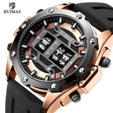 RUIMAS роскошные Цифровые кварцевые часы, мужские водонепроницаемые наручные часы, лучший бренд, военные спортивные часы, мужские часы 553