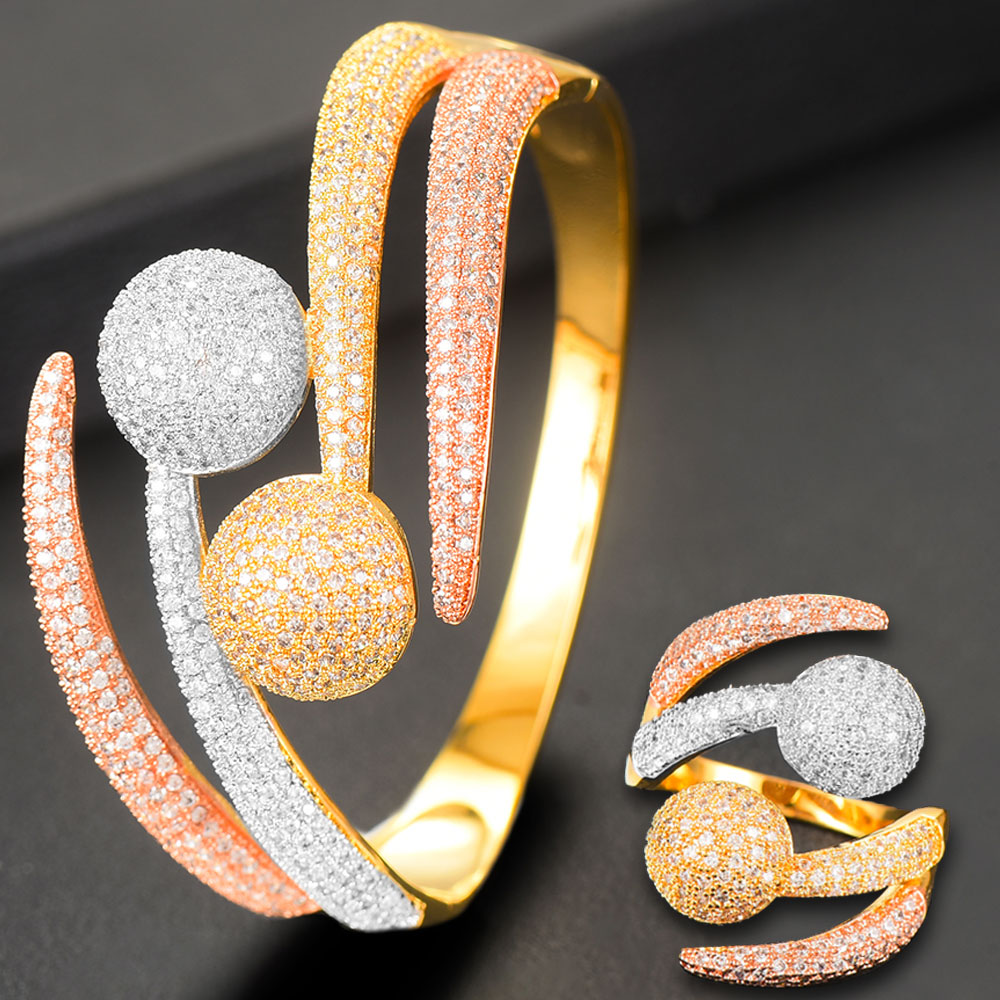 GODKI Luxury 3 Tone Ball Winding African Nigerian Bangle <font><b>Ring</b></font> Sets <font><b>Indian</b></font> Jewelry Set For Women Wedding brincos para as mulheres image