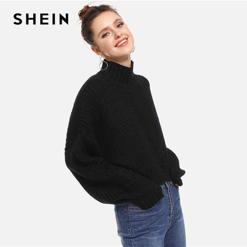Shein Hitam Padat Leher Tinggi Tanaman Berbentuk Kotak Musim Gugur Sweater Atasan Wanita Musim Dingin 2019 Streetwear Kasual Lengan Panjang Wanita Sweater