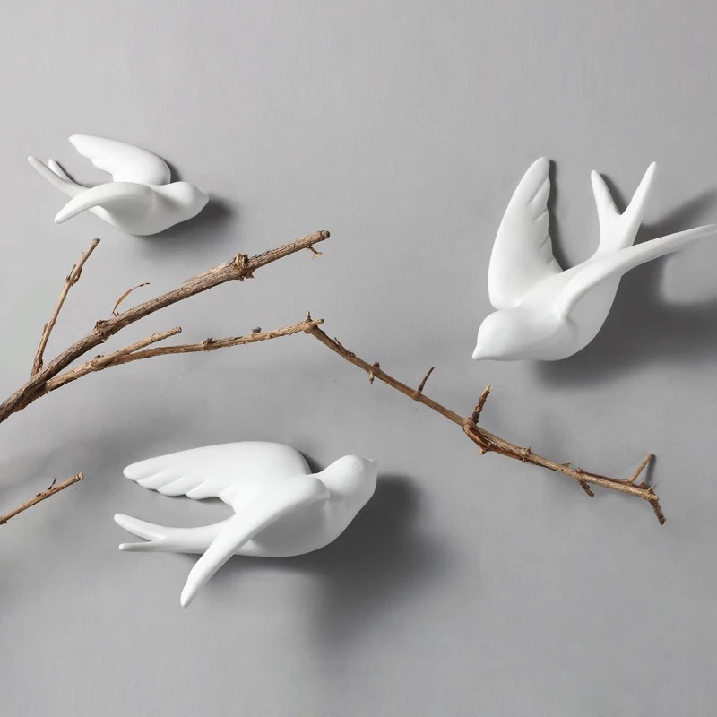 1pc 3D Ceramic Birds Murals Wall Sticker Hanging European Decorations Crafts Home Living Room Decor Ornaments 66CY