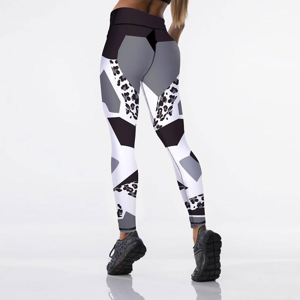Qickitout 12% spandex Sexy elasticità a vita alta donna Leggings stampati digitali pantaloni Push-Up 2