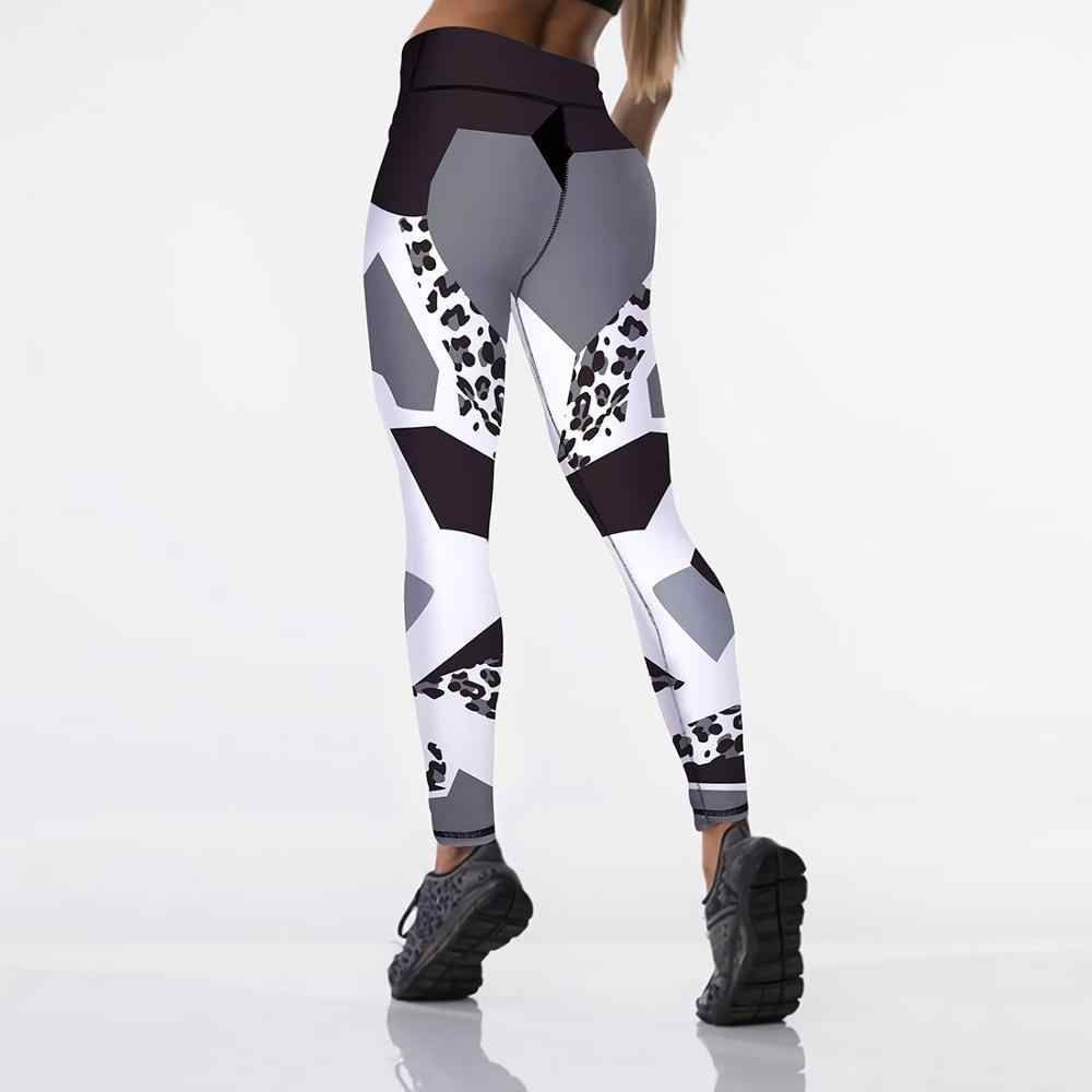 Qickitout 12% Spandex Seksi High Waist Elastisitas Wanita Digital Dicetak Legging Push Up Kekuatan Celana