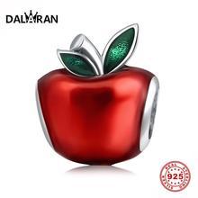Даларан, Стерлинговое Серебро, шарм, 925, Красная эмаль, бусины в форме яблока, подходят для Пандоры, очаровательные браслеты для женщин, ювелирные изделия, изготовление, рождественские подарки