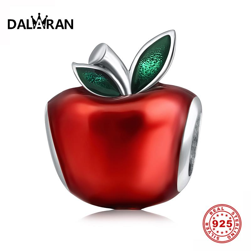 DALARAN Sterling Silver Charm 925 Red Enamel Apple Beads Fit Pandora Charm Bracelets For Women Jewelry Making Christmas Gifts