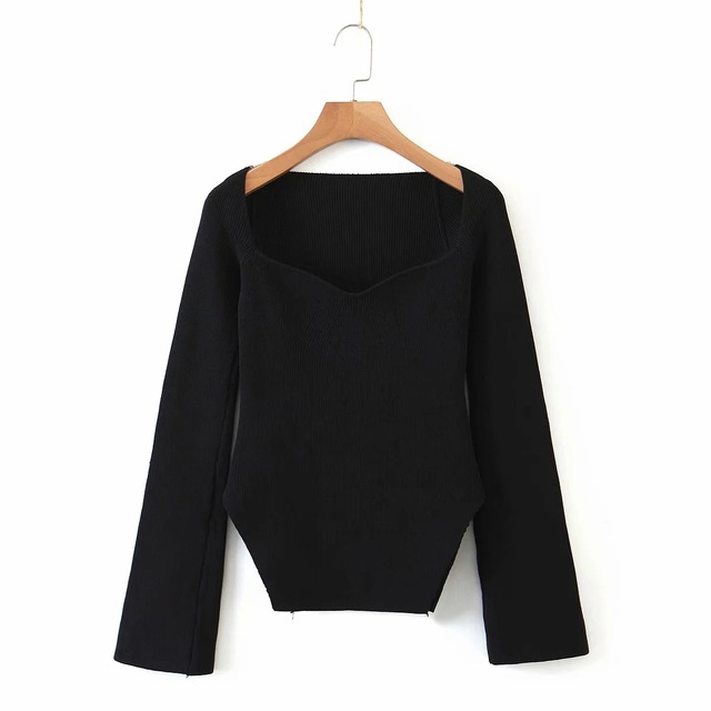 French elegant sexy square slimming curve hem split solid sweater Casual Top Autumn Winter 2020 Black Pullover Solid Jumper Knit 4
