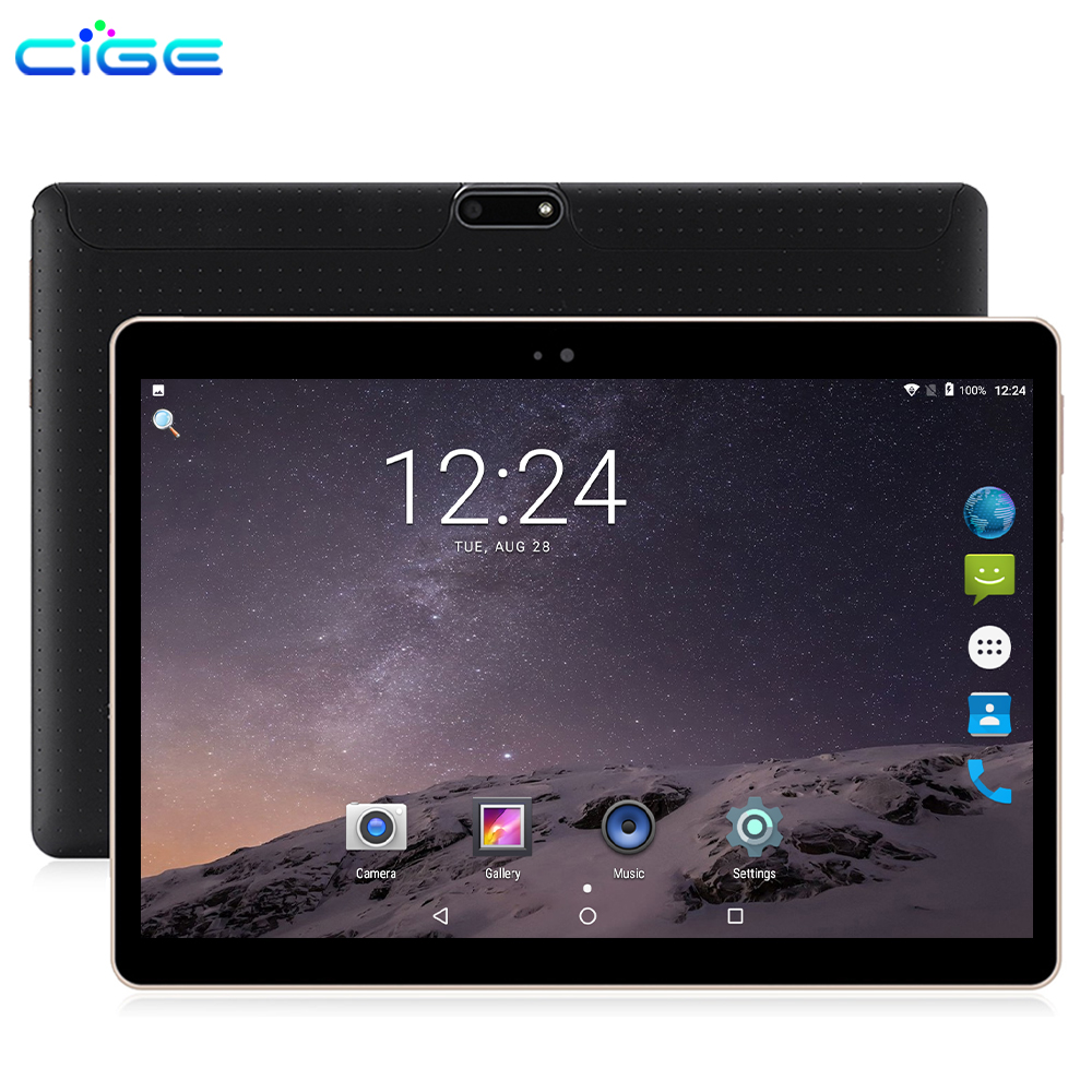 CIGE Tablets Android 8.0 Octa Core Ram 6GB ROM 64GB 10.1 Inch 8MP Dual SIM Tablet PC Wifi GPS Bluetooth Phone