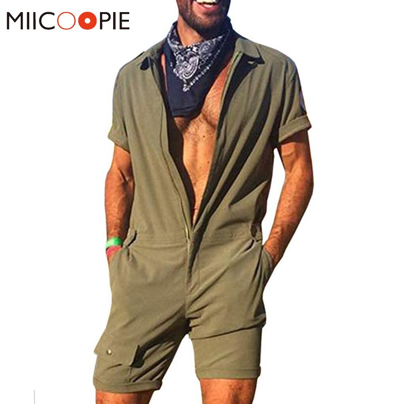 Brand New Men Romper Jumpsui Short Sleeve Cargo Overalls Playsuit Fashion One Piece Zipper Solid Color Casual Joggers Streetwear
