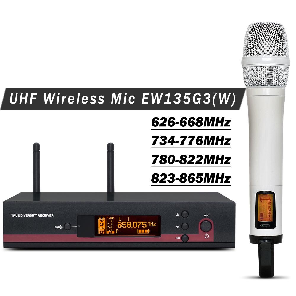 White Color High Quality Professional EW 135G3 UHF Wireless Microphone System With Single Handheld Transmitter for