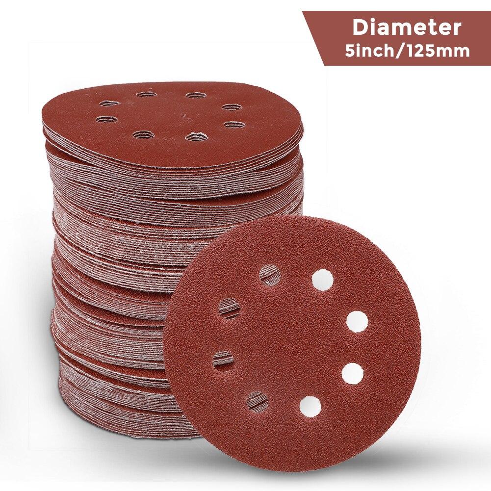 30pcs 5 Inch 8 Holes Abrasive Sanding Discs Sanding Pa30pcs 5 Inch 125mm Round Sandpaper Eight Holper 60/120/240 Grit Sand Paper