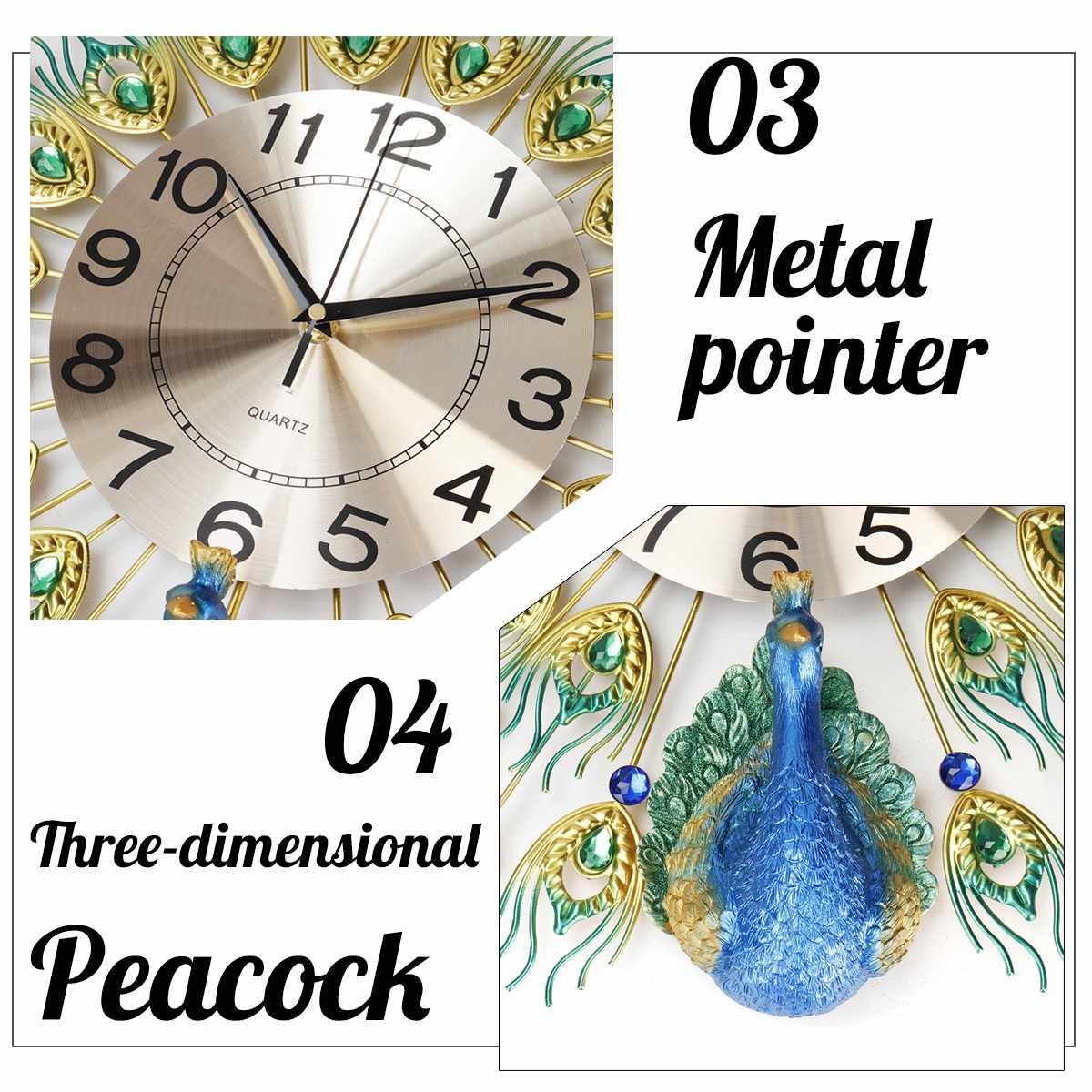 70x70cm bricolage 3D grand paon horloge murale en métal cristal diamant horloges montre ornements maison salon décoration artisanat cadeau - 4