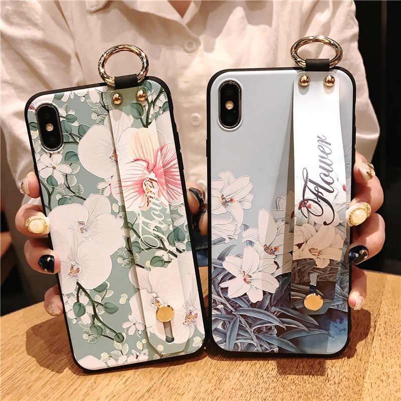 Wrist Strap Soft TPU For Huawei mate10 Case For Huawei P30 lite P20 pro NOVA 4E 3I Honor 20 7A Vintage Flower Phone Holder Case