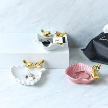 Cute MINI Nordic Bird Pattern Ceramic Jewelry Dish Snack Candy Ring Bracelet Storage Tray Sauce Dish Home Decoration Plate Craft