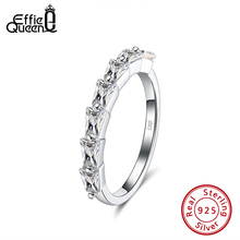 Effie Queen Elegant  925 Silver Wedding Rings with 7pcs Big Crystal Stone AAAA Zircon  for Jewelry Wedding Party Gift DSR186